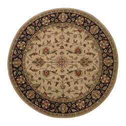 Surya - Surya Crowne Hand Tufted Khaki Wool Round Rug, 8' - With soft and beautiful traditional design details, the Crowne Collection creates a lasting centerpiece that is unparalleled in style and value. Completely hand tufted and hand finished from the finest wool in India, each rug is a radiant treasure that will embellish your home. Imported.Material: 100% WoolCare Instructions: Blot Stains