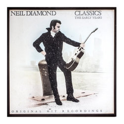 """GLittered Vintage Neil Diamond Classics Album Cover Art - Glittered record album. Album is framed in a black 12x12"""" square frame with front and back cover and clips holding the record in place on the back. Album covers are original vintage covers."""