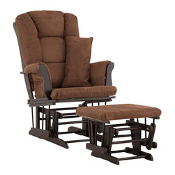 Stork Craft - Stork Craft Tuscany Glider and Ottoman with Free Lumbar Pillow in Black with Cho - Stork Craft - Rocking Chairs Rockers - 0655459B - Available in 6 wood finishes and 4 fabric combinations to create your own custom Tuscany Glider and Ottoman. The Stork Craft Tuscany Glider and Ottoman set offers gentle motion while feeding your baby in those early morning hours. Featuring a solid construction with a magical sleigh design this is a royal centerpiece for your nursery. The enclosed metal ball-bearings allow for an incredibly smooth motion to glide your baby back to sleep. Micro fiber spot-cleanable cushions ease the worry about spills while the construction offers an exquisite finish you'll appreciate far beyond the baby years. The Tuscany Glider comes with a matching soft plush lumbar support pillow for supporting your baby during feeding times.