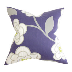 "The Pillow Collection - Junot Floral Pillow Purple - This throw pillow lends a summery vibe to your living space. The gorgeous accent pillow displays a floral print in gray and white hues set against a purple background. Place this square pillow in strategic locations around your house where it needs styling and dimension. Measures 18"", this decor pillow is made with 100% high-quality cotton fabric. Hidden zipper closure for easy cover removal.  Knife edge finish on all four sides.  Reversible pillow with the same fabric on the back side.  Spot cleaning suggested."