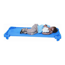 Wood Designs - Unassembled Cots (Set of 6) - Preserve valuable classroom space with Wood Designs' space saving cot design. Children will rest comfortably with strong anti-sagging vinyl mesh fabric and extra strong ABS plastic for all corners featuring excellent impact resistance, strength and toughness. Our cots are heavy duty, powder coated blue, with 16 gauge metal bars that won't bend from use, and a combination of heat sealed and sewn seams for ultimate durability. Vinyl mesh fabric is removable and machine washable with hook and loop closure at the foot end to ensure a taut sleeping surface. Exceeds CFR-115/116 Flammability standards. Ten year warranty. 5''H x 53''W x 23''D. Features: -Built with superior materials for longer lasting performance.-Promotes a healthier early learning environment.-Does not emit any harmful contaminants (VOCs) into atmosphere.-Strongest cot on the market.-.-Distressed: No.-Product Type: Cot.-Collection: Cots.-Color: Blue.-Powder Coated Finish: Yes.-Gloss Finish: No.-Frame Material: Plastic, Metal, Mesh -Frame Material Details: 16 Gauge..-Mat Material: Vinyl Mesh .-Hardware Material: ABS Plastic,16 Gauge Metal.-Number of Items Included: 6.-Pieces Included: 6 Unassembled Cots.-Non Toxic: Yes.-Water Resistant: No.-Scratch Resistant: No.-Stain Resistant: No.-Odor Resistant: Yes.-Anti-bacterial Surface: No.-Hypoallergenic: No.-Organic: No.-Cushioned: No.-Sensory Stimulation: Yes.-Textured: No.-Interlocking Tiles: No.-Removable Pieces: No.-Hanging Toys Included: No.-Cover Included: Yes.-Cot Size: Toddler.-Handle: No.-Stackable: Yes.-Folding: No.-Convert to Storage: No.-Carry Bag Included: No.-Reversible: No.-Casters Included: No.-Battery Operated: No.-Wall Attachment: No.-Age Recommended: Toddlers.-Gender: Neutral.-Weight Capacity: 75.-Machine Washable: Yes.-Outdoor Use: No.-Swatch Available: No.-Commercial Use: Yes.-Recycled Content: No.-Eco-Friendly: Yes.-Product Care: Wipe clean with mild bleach solution.Specifications: -FSC Certified: No.-CARB Compliant: Yes.-PEFC Certified: No.-Greenguard Certified: Yes.-CPSIA or CPSC Compliant: Yes.-CAL TB-117 Certified: Yes.-PVC Free: Yes.Dimensions: -Overall Product Weight: 56.-Overall Height - Top to Bottom: 5.-Overall Width - Side to Side: 52.-Overall Depth - Front to Back: 23.-Mat Thickness: 0.25.Assembly: -Assembly Required: Yes.-Tools Needed: NO TOOLS NEEDED.-Additional Parts Required: No.Warranty: -Comes with manufacturer's 10 yr Warranty.-Product Warranty: 10 Years against manufacturer's defects.