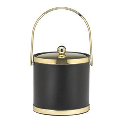 Kraftware - Sophisticates 3-qt. Ice Bucket in Black w Polished Gold Bands - Features track handle and metal cover. Made in USA. 9 in. Dia. x 9.in. H (3 lbs.)Classic Black Leatherette Elegance. Always as appropriate as a formal tuxedo at a reception. You can't go wrong with Sophisticates.