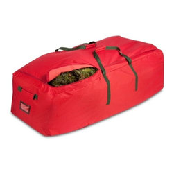 Canvas Artificial Tree Rolling Storage Bag - Honey-Can-Do SFT-02316 Artificial Tree Storage Bag, Red.  This extra-large artificial tree bag measures an incredible 55 in L x 30 in W to accommodate artificial trees up to 10 feet.  A full tree bag is easy to move when you make use of the three rolling wheels on the bottom of the bag. The moisture resistant, durable fabric protects artificial trees and garland from moisture, dust, and pests.  Reinforced carrying handles and a zipper closure make for quick and easy storage at the end of the season.