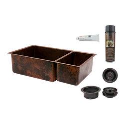 "Premier Copper Products - Premier Copper Products KSP3_K75DB33199 33"" Copper Kitchen 75/25 Sink Package - Premier Copper Products KSP3_K75DB33199 33"" Hammered Copper Kitchen 75/25 Double Basin Sink Package"