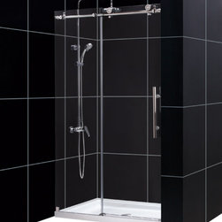 DreamLine - DreamLine Enigma-X Fully Frameless Sliding Shower Door and SlimLine - This DreamLine kit pairs the ENIGMA-X sliding shower door with a coordinating SlimLine shower base for a winning combination. The ENIGMA-X sliding shower door delivers a sleek, Fully frameless design, premium glass and high functioning performance for the look and feel of custom glass at an exceptional value. The coordinating SlimLine shower base incorporates a low profile design for an unobtrusive modern look. Go for the streamlined look and urban style of the ENIGMA-X frameless sliding shower door and coordinating SlimLine shower base for your bathroom renovation. Items included: Enigma-X Shower Door and 36 in. x 48 in. Single Threshold Shower BaseOverall kit dimensions: 36 in. D x 48 in. W x 78 3/4 in. HEnigma-X Shower Door:,  44 - 48 in. W x 76 in. H ,  Premium 3/8 (10 mm) thick clear tempered glass,  Brushed or polished stainless steel hardware finish,  Fully frameless glass design,  Width installation adjustability: 44 - 48 in.,  Out-of-plumb installation adjustability: No,  Advanced fully frameless glass design,  Effortless sliding operation with large wheel assemblies on a stainless steel track,  Includes anti-splash threshold to prevent water spillage (requires minimum threshold depth of 3 3/4 in.),  DreamLine exclusive Clear Glass protective anti-limescale coating,  Top bar may be shortened by cutting down up to 4 in. ,  Professional installation required,  Door opening: 16 - 20 in.,  Stationary panel: 23 1/8 in.,  Reversible for right or left door opening installation,  Material: Tempered Glass, Stainless Steel,  Tempered glass ANSI certified36 in. x 48 in. Single Threshold Shower Base:,  High quality scratch and stain resistant acrylic,  Slip-resistant textured floor for safe showering,  Integrated tile flange for easy installation and waterproofing,  Fiberglass reinforcement for durability,  cUPC certified,  Drain not includedProduct Warranty:,  Shower Door: Limited 5 (five) year manufacturer warranty ,  Shower Base: Limited lifetime manufacturer warranty