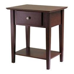 Winsome - Winsome Shaker Nightstand with Drawer in Antique Walnut Finish - Winsome - Nightstands - 94922 - The beveled top gives an upscale look to the table which is complete with storage drawer and bottom storage shelf.