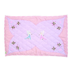 "Wingreen - WinGreen Small Fairy Floor Quilt - Our Fairy Floor Quilt is appliqued and embroidered with delicate fairies, pretty flowers and pink hearts. These lightly padded floor quilts are designed to fit the base of WinGreen Fairy Cottage Playhouses. They also make great rugs or playmats. Machine washable. Available in 2 sizes. Small: 43.30"" x 29.13"" and Large: 52.75"" x 43.30"""