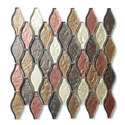 "Euro Glass - Seagull Copper Back Unique Shapes Bronze/Copper Kitchen Glossy Glass - Sheet size: 10 3/4"" x 12"""