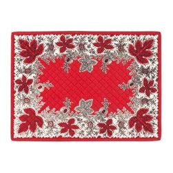 KAF Home - Botanique Red Quilted Placemat - This beautiful design traces its origin to 1850 in the French Alps, where pomegranates were considered a symbol of hospitality and good fortune. Derived from a woodblock print on cotton, the botanique placemats are perfect for a more formal setting.