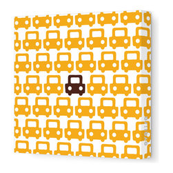 """Avalisa - Things That Go - Auto Pattern Stretched Wall Art, 18"""" x 18"""", Orange Brown - Feel free to toot your own horn about this design statement. The sleek look of stretched canvas and a cool, clever pattern are sure to bring a smile wherever you hang it."""