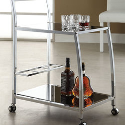 "Acme Furniture - Kyros Serving Cart in Chrome and Tempered Black Glass - Kyros Serving Cart in Chrome and Tempered Black Glass; Finish: Chrome & 5mm Temp. Black Glass; 4 Casters, 5mm Tempered Black Glass; Materials: Metal, Glass, 4 Casters; Weight: 20.06 lbs; Dimensions: 25"" x 15"" x 31""H"
