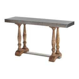 Kathy Kuo Home - Winfred Industrial Galvanized Metal Reclaimed Wood Trestle Console Table - From the turned reclaimed wood legs to the galvanized tabletop, this piece delivers serious industrial and rustic style in one slim console.  Perfect for city apartments and even country homes where heritage is celebrated with a twist.