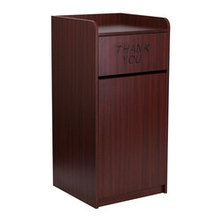 """Flash Furniture - Wood Tray Top Receptacle in Mahogany Finish - When in need of a large capacity trash can this push door receptacle by Flash Furniture will be the perfect addition in many environments. The """"Thank You"""" text encourages people to place trash in the receptacle and the top is designed for food trays to prevent accidental disposals. The front door allows for easy removal of trash and the floor glides help protect your floors."""