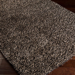 Surya - Surya Taz TAZ-1021 (Flint Gray) 5' x 8' Rug - The Taz Collection is a fashionable look in floor coverings. This shag is constructed from 100% polyester with ultra fine shimmering metallic looking stands. Available in 8 colors, this shag is sure to take the spotlight.