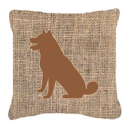 Caroline's Treasures - Shiba Inu Burlap and Brown Fabric Decorative Pillow Bb1113 - Indoor or Outdoor Pillow from heavyweight Canvas. Has the feel of Sunbrella Fabric. 18 inch x 18 inch 100% Polyester Fabric pillow Sham with pillow form. This pillow is made from our new canvas type fabric can be used Indoor or outdoor. Fade resistant, stain resistant and Machine washable..