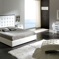 Made in Spain Leather Bedroom Contemporary Design with Extra Storage - Penelope white bedroom tufted headboard w/storage by dupen Spain. The Bedroom Set from the Dupen Collection offers an elegant blend of traditional elements with modern simplicity of lines that produces a unique and rich flair perfect for any contemporary bedrooms.
