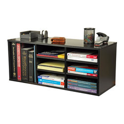 Venture Horizon - Desktop Organizer w 6 Adjustable Shelves in B - Versatile storage system. Features 9 adjustable shelves for storage and sorting. Reposition shelves to accommodate large books and binders. Stack units on floor or desk to create a wall of storage. Can also stand the units on end and use as a bookcase. Organizes all papers, binders and more. Rugged construction. Mount on any wall. Constructed from durable, stain resistant and laminated wood composites that includes MDF. Made in the USA. Minimal assembly required. Weight: 28 lbs.. 31 in. W x 12 in. D x 13 in. H9 Compartment unit neatly organizes desk clutter. This versatile storage system features 6 adjustable shelves for storage and sorting. Reposition shelves  to accommodate large books and binders. Stack units on floor or desk to create a wall of storage. You can also stand the units on end and use as a bookcase. Each unit is 13 in. high x 31 in. wide x 12 in. deep and weighs 28 lbs. Constructed from durable, stain resistant melamine laminated particleboard that is stain resistant and easy to clean.