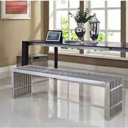 "LexMod - Gridiron Benches Set of 2 in Silver - Gridiron Benches Set of 2 in Silver - Silver rivers of laughter race back and forth in this high energy modern piece. Gridiron's sleek stainless steel bench contains a message of transformation and metamorphosis. Exuberance abounds as the strategic placement of this piece will radiate a happy atmosphere. Set Includes: One - Gridiron Large Stainless Steel Bench One - Gridiron Small Stainless Steel Bench Short Bench: Stainless Steel, Easy to Clean, For Indoor or Outdoor Use, Long Bench: Perfect modern bench or table, Brushed stainless steel finish Overall Small Bench Dimensions: 15""L x 19.5""W x 16.5""H Overall Large Bench Dimensions: 60""L x 15""W x 16.5""H - Mid Century Modern Furniture."