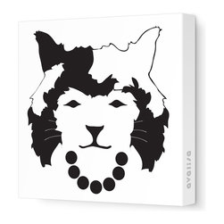 """Avalisa - Animal Face - Queen Cat Stretched Wall Art, 12"""" x 12"""", Black And White -"""
