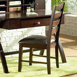 Steve Silver Furniture - Steve Silver Sao Paulo Ladderback Side Chair w/ Dark Brown Vinyl Seat - Small and charming, the Sao Paulo desk and side chair might sit quietly in an office or fit nicely in a bedroom.  However, it can comfortably slip into almost any room in your house to create a personal office space.  The side chair features a ladder back design and durable dark brown vinyl seat. - SU150S.  Product features: Rich Multi-Step Espresso Finish; Transitional Styling; Solid Wood Chair; Tongue and Groove Joints; Durable Vinyl Seating. Product includes: Side Chair (1). Ladderback Side Chair w/ Dark Brown Vinyl Seat belongs to Sao Paulo Collection by Steve Silver.