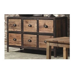 Zuo Modern - 6-Drawer Sideboard in Distressed Natural Fini - Warranty: One year. Made from elm wood and metal. Assembly required. 41.7 in. W x 17.3 in. D x 26.8 in. H (79.2 lbs.)Perfect for a hallway or entry way, add an industrial flare to any space.