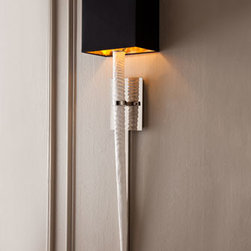 """BARBARA COSGROVE - BARBARA COSGROVE White """"Stingray"""" Sconce - A replica of a stingray tail creates a unique wall sconce. Slender enough for narrow spaces, it would look spectacular in pairs flanking artwork or a favorite mirror. Imported. Made of cast resin with nickel fittings. Matte-white and brushed-nickel fi..."""