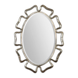 Curved Beccaria Silver Oval Beveled Mirror - *The Curvacious Frame Is Made Of Hand Forged Metal Finished In An Oxidized Plated Silver