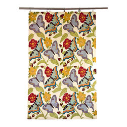 De-Cor - Kashmiri Crewel Embroidered Tapestry or Area Rug, Colorful Butterfly - A vibrant and stunning floral tapestry with one-of-a-kind folk craftsmanship. Exquisite wool thread chain stitch hand-embroidery covers every inch of the base cotton canvas fabric. This tapestry can also be used as a rug.