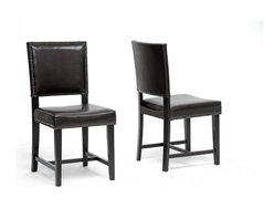 Wholesale Interiors - Nottingham Brown Modern Dining Chair-Set of 2 - Set of 2. Dark brown faux leather seat. Wooden frame with black legs. Firm, dense polyurethane foam cushioning. Antiqued nail head trim. Made in Malaysia. Assembly required. 17.75 in. L x 21.5 in. W x 42.75 in. H (20.5 lbs)