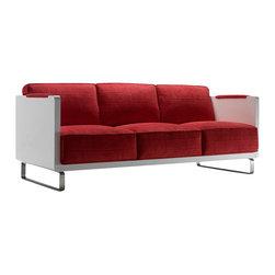 Kubikoff - Kubo 3-Seat Sofa, Red Leather, Fumed White - Kubo 3 Seat Sofa