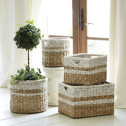 Ballard Designs - Ticking Baskets - Set of 2 - Also great for holding potted plants. White wash finish. Cutout handles. It's nearly impossible to have too many sturdy storage baskets. Hand woven of strong, natural sea grass, our Ticking Baskets are handy in any room, from the kitchen to the bath. Load them up with sacks of dry goods, rolled towels, magazines or kids' toys. Ticking Basket features: . . .