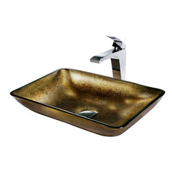Vigo - Vigo Rectangular Copper Vessel Sink and Fountain Faucet - This rectangular, copper-colored glass sink by Vigo Industries is an unconventional and unique choice for bathrooms of distinguished decor. This vessel set features a simple, L-shaped faucet with a slender lever and polished chrome finish