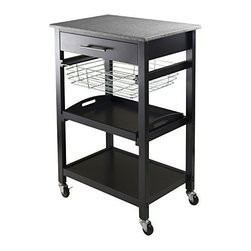 Winsome Wood - Julia Utility Cart - Our Julia Kitchen Cart with a granite top which makes it easy to clean and has plenty of else functions. This cart includes drawer, foldable metal basket, removable serving tray and a fix bottom shelf with casters for mobility.