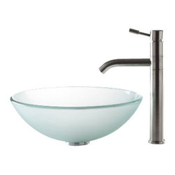 Kraus - Kraus Frosted Glass Vessel Sink and Aldo Stainless Steel Faucet - *Add a touch of elegance to your bathroom with a glass sink combo from Kraus