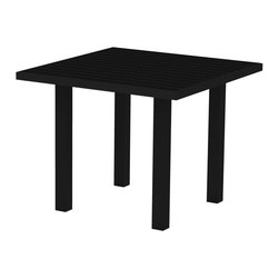 PolyWood - Euro 36 in. Square Dining Table by Polywood, Black/Black - Sophisticated enough for fine dining but casual enough to be comfortable in your outdoor entertaining space��_that��s what makes the Polywood�� Euro 36�� Square Dining Table ideal for intimate dinners. This table is high on style and low on maintenance, as it resists nature��s elements, stains, corrosive substances, insects, fungi, salt spray and other environmental stresses. It��s made in the USA with a sturdy aluminum frame and eco-friendly, fade-resistant  Polywood�� recycled lumber slats that look like painted wood without the upkeep real wood requires. And it��s backed by a 20-year warranty so that means you don��t have to worry about it splintering, cracking, chipping, peeling or rotting and it will never need to be painted, stained or waterproofed.  Ships within 10 Business Days