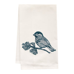"artgoodies - Organic Chickadee Tea Towel - This high quality 100% certified organic cotton tea towel was custom made just for artgoodies! Hand printed with one of my original linocut block print images it measures 20""x28"" and comes wrapped in a green ribbon made from 100% recycled plastic bottles! Nice and absorbent for drying dishes, looks great when company is over, and makes a great housewarming gift!"