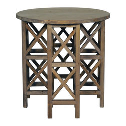 Noir - Zimmerman End Table - Crafted from reclaimed solid elm and given a hand-applied old wood finish, the Zimmerman end table has a classic quality and rich presence. The applied wax allows the table to age naturally over time. Coasters, placemats, and tablecloths must be used to protect the item from marking. Features: -Classic quality and rich presence.-Old elm wood construction.-Old Wood finish.-Distressed: Yes.Dimensions: -Overall Product Weight: 22.2 lbs.