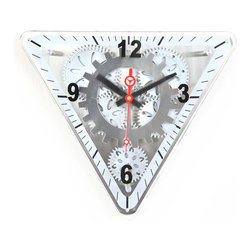 Maple's Clocks - Moving-Gear Triangular Wall Clock with Glass Cover - Moving gears. No assembly needed. Triangle front glass. Big arabic numerals. 2.75 in. W x 15 in. L x 13 in. HThis triangular wall clock features visible moving gears.  The plastic body is faced with a brushed aluminum dial with numbers every quarter hour.  The clock has a mix of brushed aluminum and silver plastic gears that move continuously along with a small center gear that ticks every second.  A plate glass cover is mounted on the front.  The clock is 13 inches by 15 inches by 2.75 inches.  Precision timing is kept with quartz crystal.  The clock is powered by 2 C and 1 AA battery (not included) and includes a 1 year limited warranty.