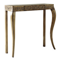 "Hooker Furniture - Hooker Furniture Embossed Design Console - Glamorous with its embossed design, this console table adds sophistication to any room. Gemelina & Hardwood Solids. Dimensions: 35""W x 11.25""D x 30.75""H."
