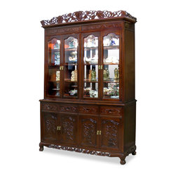 China Furniture and Arts - 60in Rosewood French Queen Ann Grape Motif China Cabinet - Constructed from solid rosewood, this grand curio cabinet exhibits your treasured collectibles to the best effect with museum quality lighting and mirror. Hand-carved grape motif symbolizes abundance and prosperity. Four drawers and cabinets with a removable shelf in the lower portion providing ample storage space. Hand-applied rich mahogany finish allows the beauty of rosewood to shine through that will bring cheerfulness to your home. (2pcs/set).