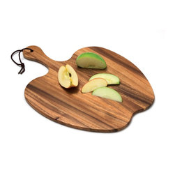 Lipper International Acacia Apple Shape Paddle Board - I love the dark wood grain pattern on this apple-shaped cutting board. You can use it for cutting or serving.