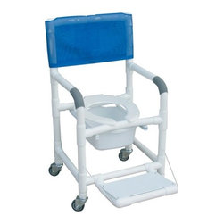 "MJM International - Standard Deluxe Shower Chair with Folding Footrest and Optional Accessories - Features: -10 quart slide out commode pail. -Fast drying mesh back. -Frame Manufactured of healthcare grade PVC pipe and fittings. -Contoured frame, no sharp edges, to avoid skin breaks during transfers. -Reinforced at all stress related areas. -Deluxe elongated open front seat ideal for both male and female. -Needs heavy duty threaded stem casters. -2 lock and 2 non lock 3"" casters for easy maneuverability and transferring. -Anti-slip safety hand grips. -Rust proof casters. Specifications: -Internal Width: 18"". -External Width: 22"". -Seat Height: 21"". -Threaded Stem Casters: 3"" x 1 1/4"". -Weight Capacity: 300 lbs. -Overall Dimensions: 40"" H x 22"" W x 18"" D."