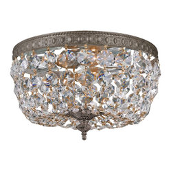 Crystorama - Crystorama 710-EB-CL-MWP Clear Hand Cut Crystal Basket - Shown in picture: Clear Hand Cut Crystal Basket; This ceiling mount beautifully fuses an English Bronze plated solid brass frame with a Hand Cut crystal basket - making it a perfect addition to any traditional room in your home.