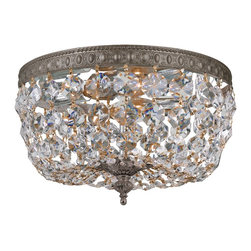 Crystorama - Crystorama Richmond 1 Tier Chandelier in English Bronze - Shown in picture: Clear Hand Cut Crystal Basket; This ceiling mount beautifully fuses an English Bronze plated solid brass frame with a Hand Cut crystal basket - making it a perfect addition to any traditional room in your home.