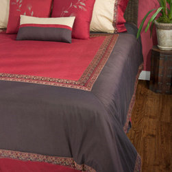 Rizzy Rugs - Crimson Red King Duvet with Poly Insert Bed Set - - Construction: Ribbon, embroidered, piecing and applique details  -  Regal red, rich brown and soft ivory have been brought together to create this luxurious designer duvet set. An appropriate accompaniment to any traditional or transitional home, this majestic ensemble features unique applied details throughout, from the trim of the duvet to the array of custom matched accent pillows.  - Care and Cleaning: Dry clean only Rizzy Rugs - BT0626 K