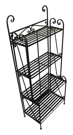 Pangaea Home & Garden - Folding Piper Black 4-shelf Baker's Rack - Instantly multiply the storage in your kitchen or pantry with this black wrought-iron baker's rack. With four sturdy shelves,this recycled rack can hold heavy nonperishable food items to free up valuable real estate in your cupboards.