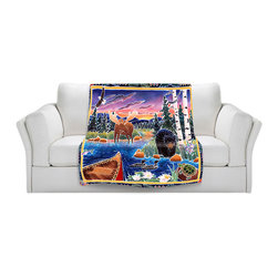 DiaNoche Designs - Fleece Throw Blanket by Harriet Peck Taylor - Sunrise at Bear Lake - Original Artwork printed to an ultra soft fleece Blanket for a unique look and feel of your living room couch or bedroom space.  DiaNoche Designs uses images from artists all over the world to create Illuminated art, Canvas Art, Sheets, Pillows, Duvets, Blankets and many other items that you can print to.  Every purchase supports an artist!