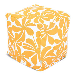Majestic Home - Outdoor Yellow Plantation Small Cube - These blossoms don't just look bold — with UV protection built into the fabric, you've got a versatile indoor/outdoor piece that can stand up to any weather. Plus, the slipcover zips off so you can throw it in the wash.