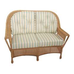 Trade Wind Treasures - Lake Living Outdoor Loveseat - Includes standard outdoor seat cushion. All weather. Welded aluminum frame. Covered in hand woven UV protected extruded vinyl. Outside width: 55 in.. Inside arms: 45 in.. Depth: 20 in.. Warranty