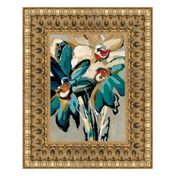 """Posters 2 Prints LLC - Blooming Blue I - Blooming Blue I by Angela Maritz. Canvas Giclee framed with a beautiful 3.375"""" Ornate Gold frame. Our Canvas Giclee product is made using a Giclee printing process that uses up to 12 different color inks that spray onto high quality canvas paper to give a product that looks most like an original painting."""